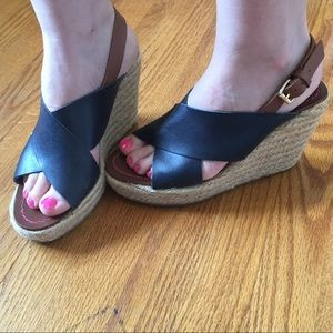 Boden Navy Blue Sienna Wedge Sandals 8 (EU38)